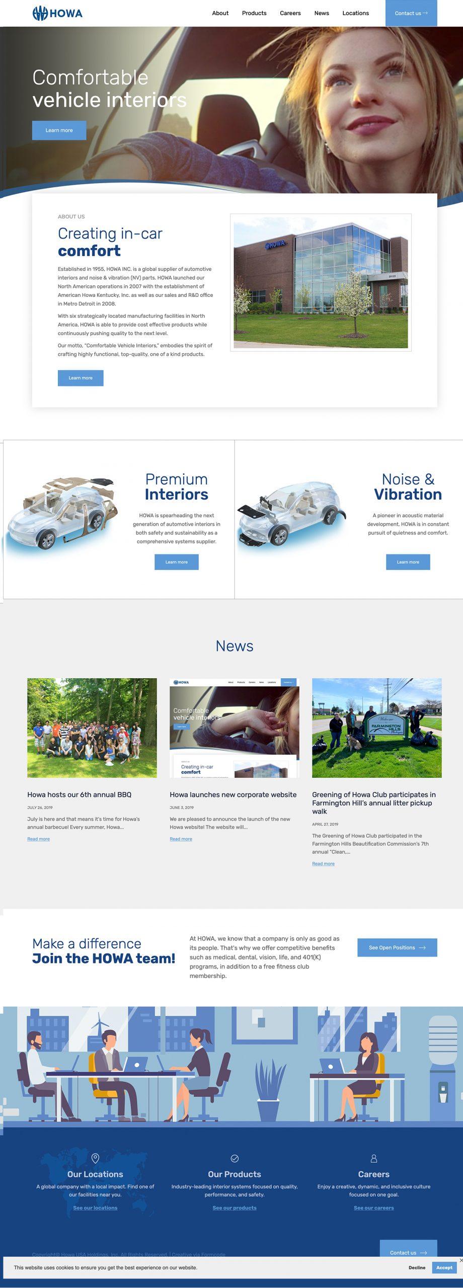 HOWA Website - Automotive Interiors