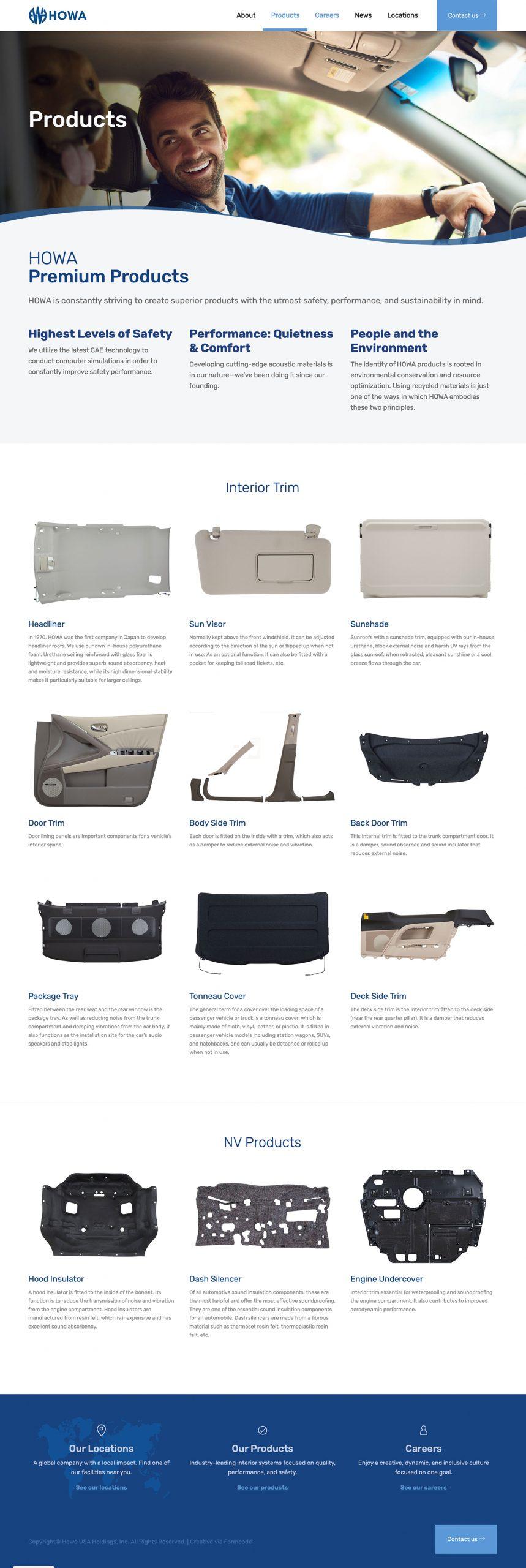 HOWA Website - Automotive Parts Page