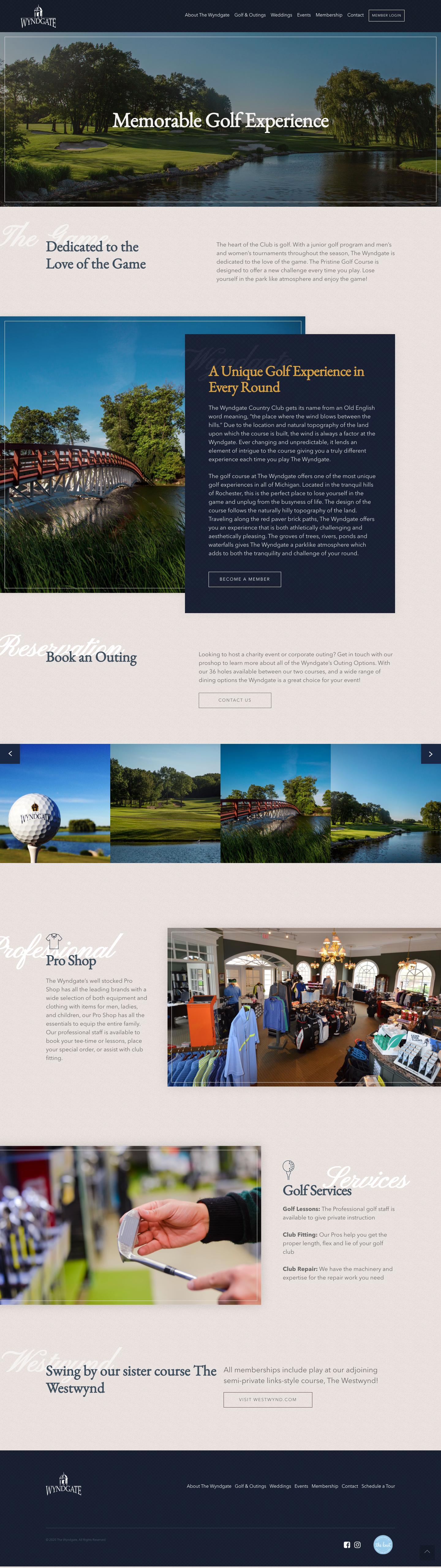 country club website membership