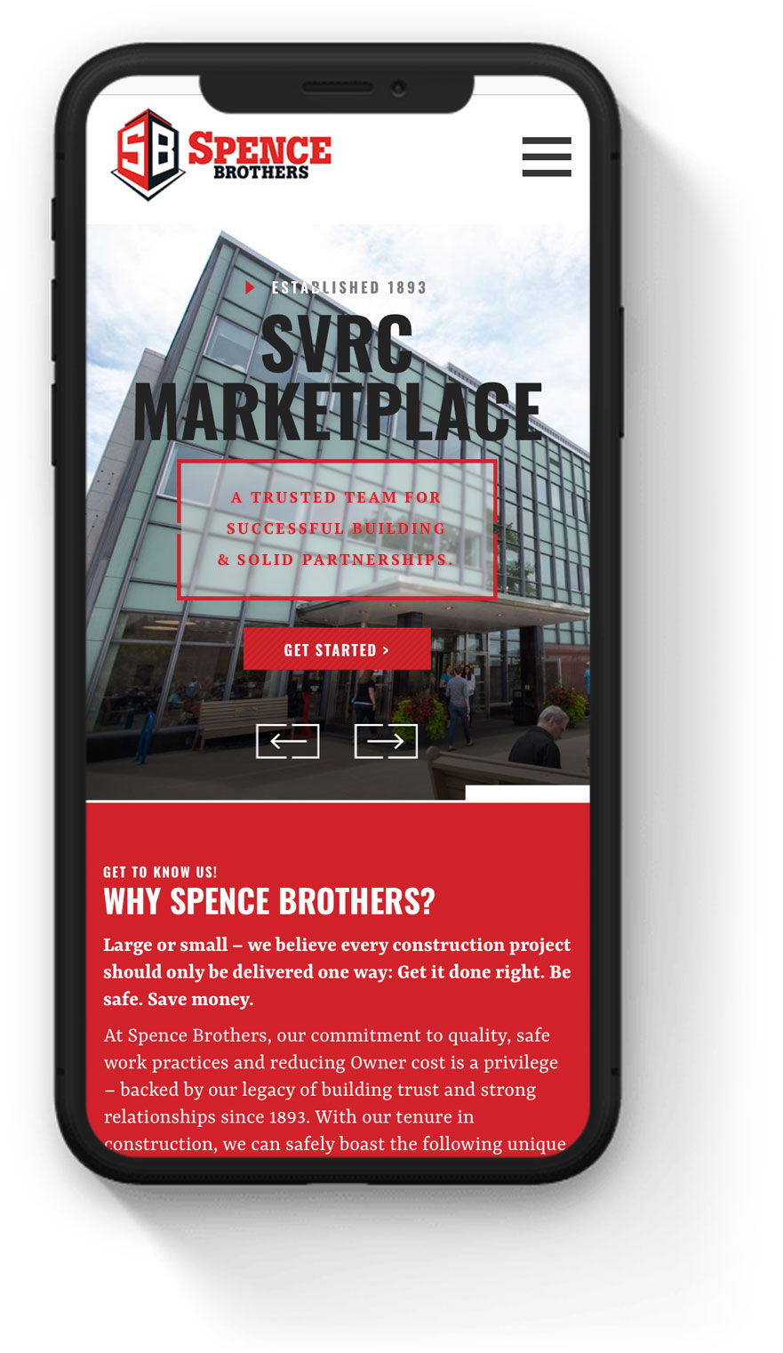 spence brothers commercial construction mobile optimized