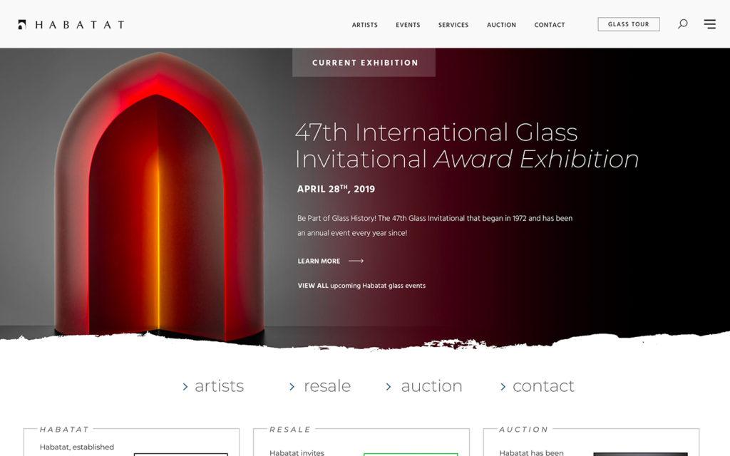 Habatat Galleries Website Redesign 2020