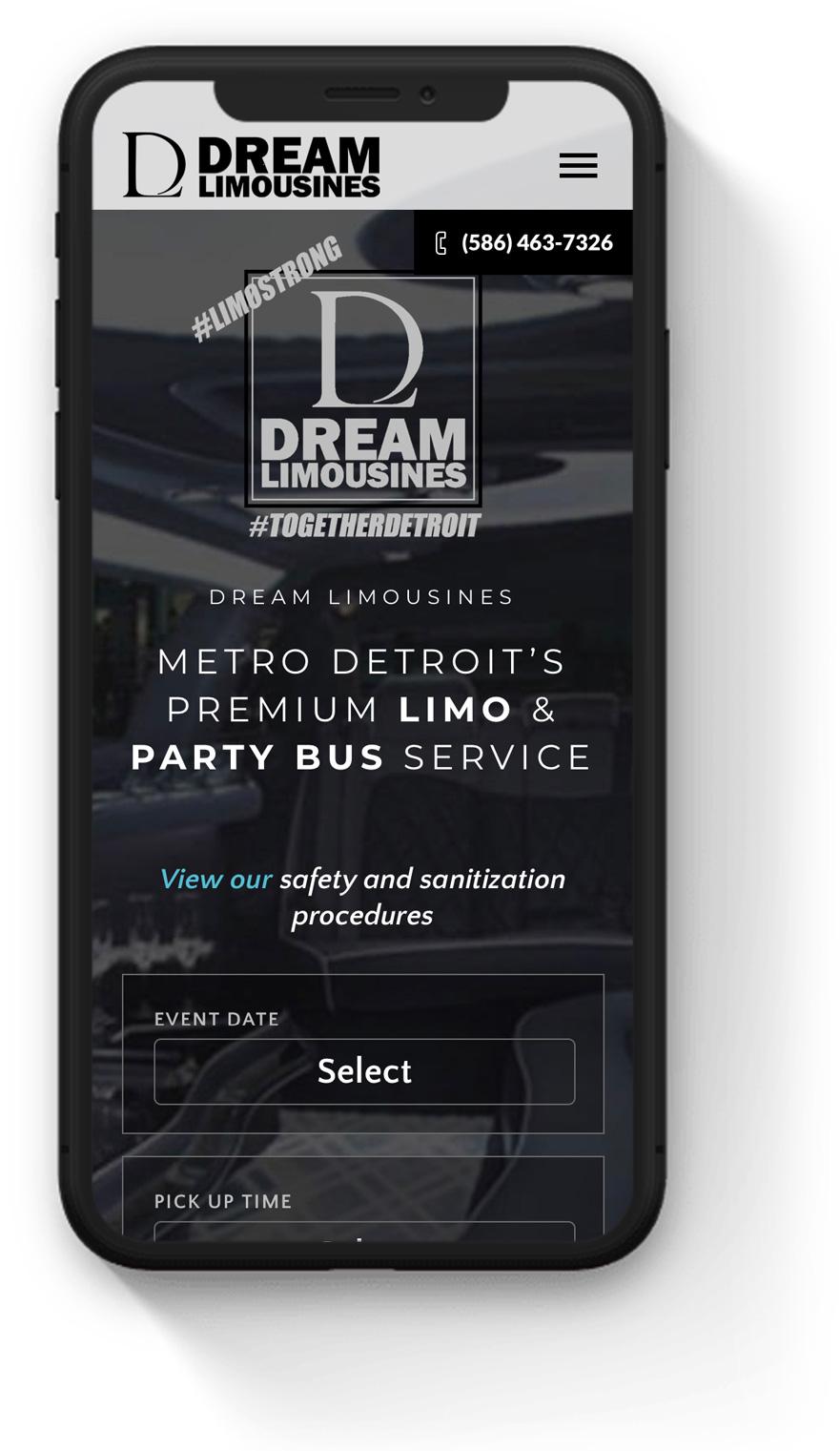 mobile limo service web design