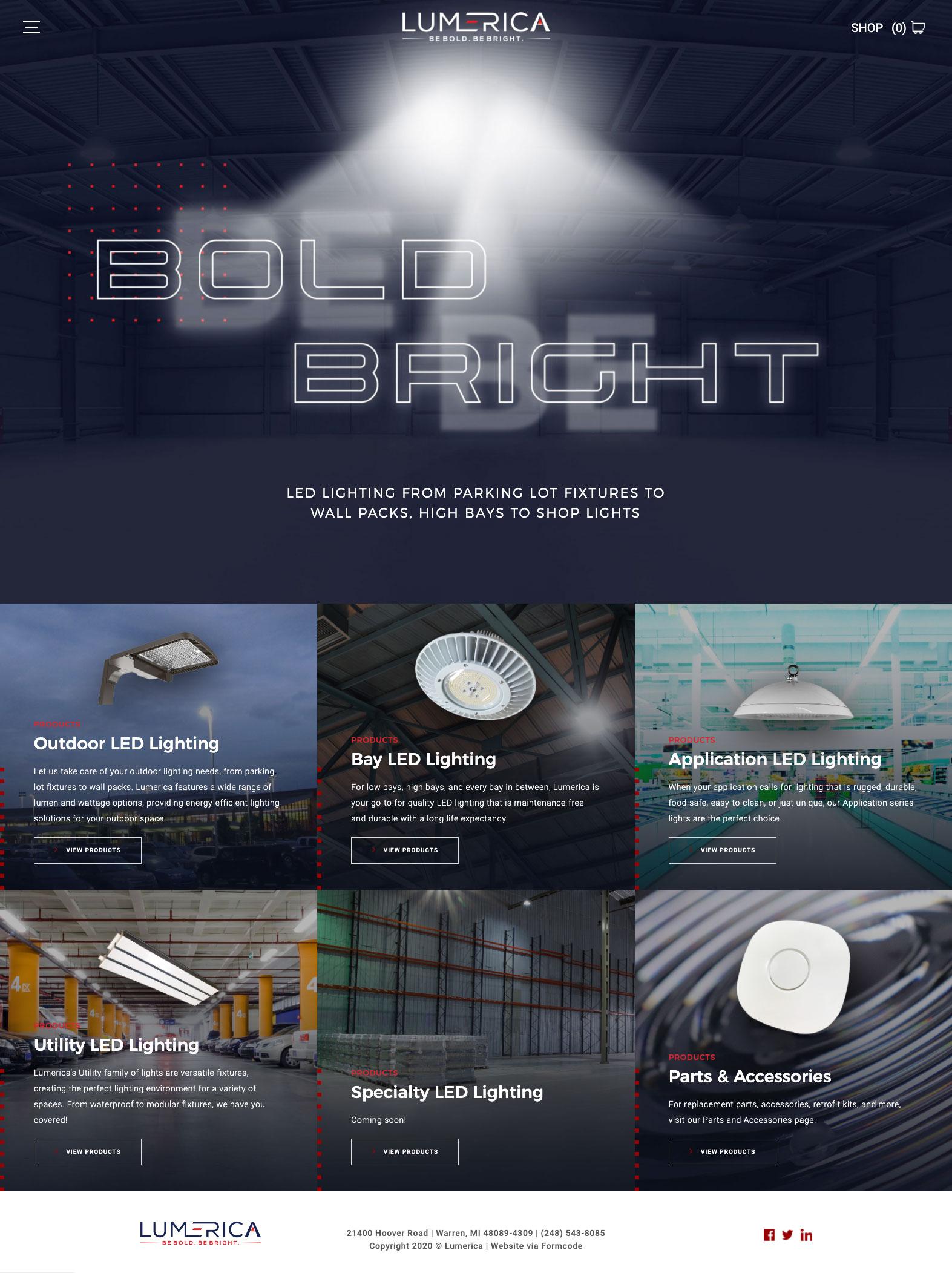 Lumerica Lighting E-commerce Web Design