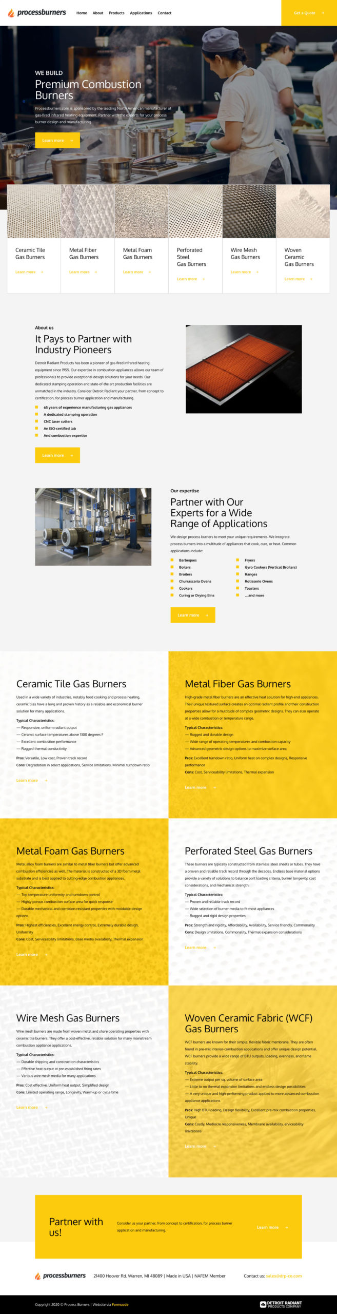 Process Burners Products Web Design