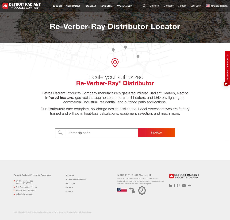 Manufacturer Website Distributor Locator Design Example
