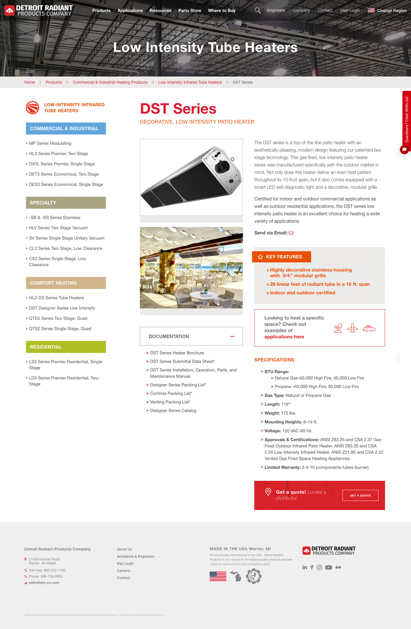 Manufacturer Website Product Detail Design Example