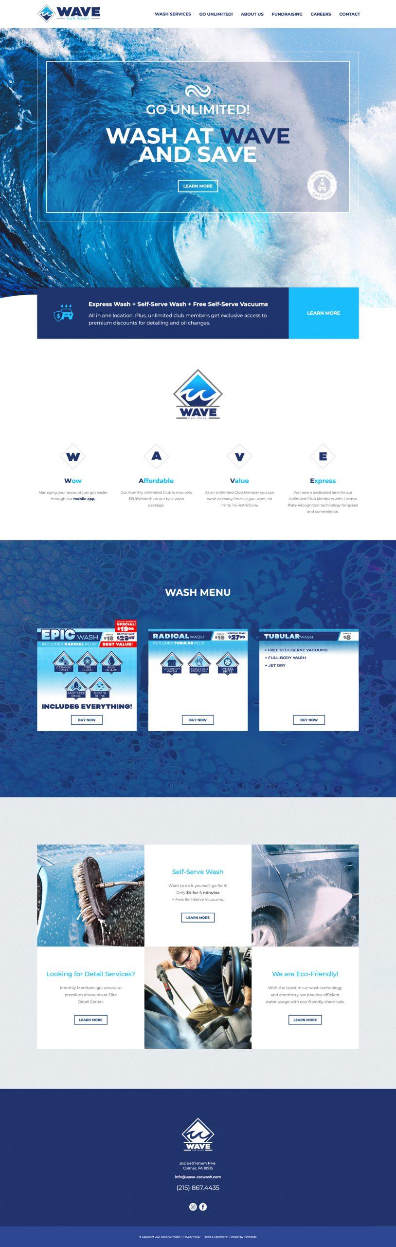 Car Wash Web Design Layout